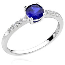 Sterling Silver 6mm Round Created Blue Sapphire and Cubic Zirconia Ring (China)