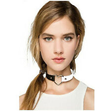 Fashion Punk Goth Heart Cross Choker Necklace Ring Harajuku Leather Neck Ring