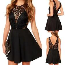 Womens Sexy V Back Lace Mini Dress Party Cocktails Evening Black Clubwear S-XL