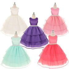 Kid Baby Girl Princess Pageant Wedding Party Tulle Tutu Dress+Pearl belt sets