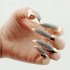 Gothic Punk Rock Style Eagle Claw Rhinestone Finger Tip Nail Rings Set of 5pcs