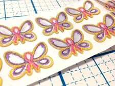 12 ADHESIVE BACKED EMBROIDERED BUTTERFLY- PINK RIBBON CANCER AWARENESS APPLIQUES