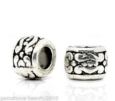 Wholesale HX Silver Tone Carved Spacer Beads 7x5mm