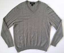 BROOKS BROTHERS Country Club Mens Gray Wool Silk V-Neck Sweater Shirt Sz XL EUC
