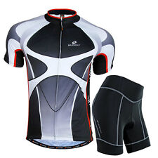 Outdoor Mens Short Sleeve Set Comfortable Bicycle Cycling Jersey Pad Shorts Suit