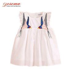 Girl dresses summer style 2016 two birds embroidered cotton kids dresses party