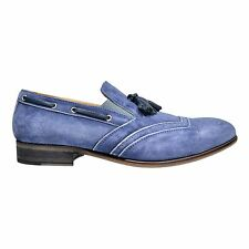 Bacco Bucci Mancuso Mens Suede Round Toe Slip On Tassel Shoes Made In Italy Blue