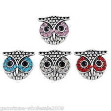 W09 Wholesale Lots Owl Crystal Rhinestone Snap Buttons Regualr Necklace DIY