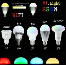 Mi light 2.4G WIFI Wireless E27 GU10 E14 RGBW CW/WW Dimmable LED Lamp Bulb 4W-9W
