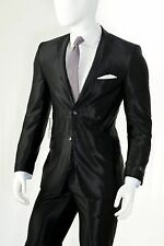 Vittorio St Angelo Shiny Shark Skin 2 Button Slim Fit Lounge  Suit SHARK2 Black