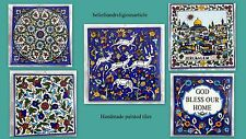Ceramic painted Tile handmade iznik style ethnic holy land flowers 4+1 deal*