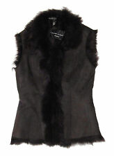 $2,598 Ralph Lauren Black Label Womens Brown Leather Suede Lined Vest Jacket New