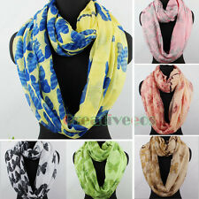 Fashion Womens Butterfly Polka Dots Stripes Print Ladies Long/Infinity Scarf New