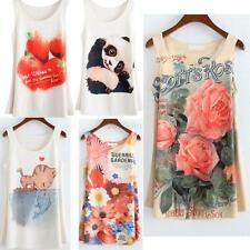 Womens Sleeveless Printed T-shirts Animals Floral Blouse Vest Tank Top 20 Colors