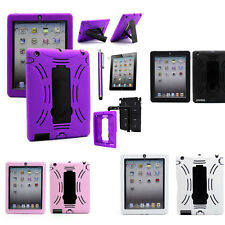 New Apple Ipad 4 3 2 Impact Rugged Heavy Duty Kickstand Case Cover Protector