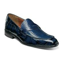 Stacy Adams Corsica Mens shoes Blue  crocodile Print Leather Loafer 25027-400