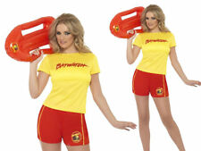Baywatch Costume Licensed Ladies Beach Life Guard Fancy Dress Top Shorts