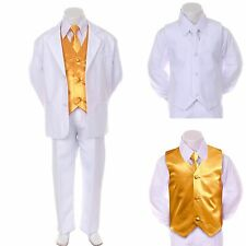 New Boy Kid Formal Wedding Party Church White Suit Tuxedo + Yellow Vest Tie 5-7