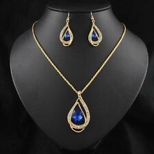 New Women's 18k Gold Plated Chain Austrian Crystal Necklace Bridal Jewelry Sets