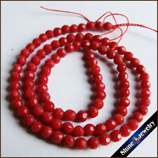 "4mm Round Faceted Red Coral Gemstone Loose Beads Strand 15"" Jewelry Making"