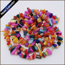 "36"" Strand Natural Multi-Color MOP Shell Chip Gems Gravel Loose Beads 5-8mm /Lot"