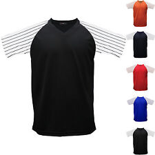 Raglan Baseball Stripe T-Shirt Jersey Short Sleeves V Neck Dry Tee Team Sports