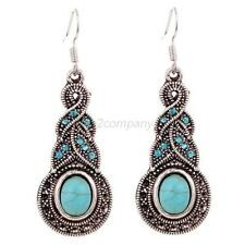 Fashion Girl Unique Tibetan Silver Blue Natural Turquoise Crystal Hook Earrings