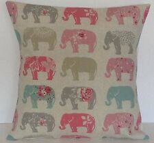 Clarke & Clarke-Studio G Elephants Pastel Pink Grey  Cushion Cover Size Choice