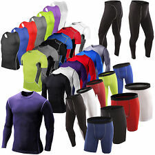 Mens Boy Compression Base Layers Top Tight Skin T-Shirts Vests Long Pants Shorts