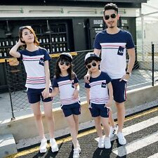 Family Summer Outfits Clothes Mother Father Kids Striped T-shirt Tops+Pants Sets