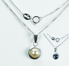 Black / White Sterling Silver Pearl Pendant and Chain. UK Made