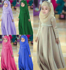 3pcs Kids Girl Long dress Muslim Hijab Islamic Abaya Kaftan+Bown Arab maxi dress