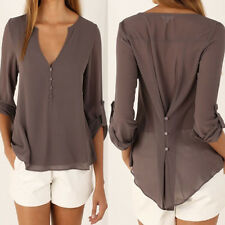 Women Ladies Chiffon Long Sleeve Loose Buttons Blouses Summer Casual Shirts Tops
