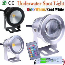 10W LED Underwater Spot Light RGB Cool Warm Garden Pond Lamp IP68 + 12V Adapter