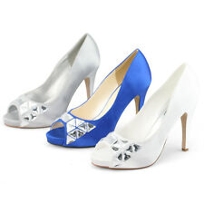 womens peep toe pumps high heels satin wedding party diamantes  shoes sexy size
