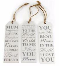 Mum Plaques Cute Wooden Door Hanging Signs Worlds Best Mothers Day Gift - 15cm