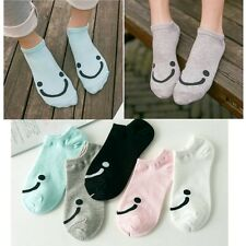 Smile Face Women Girls Cotton Summer Ankle High Low Cut Boat Socks