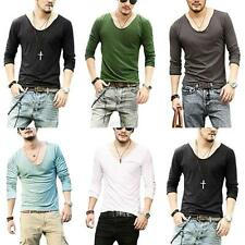 Stylish Men's Slim Fit V-neck T-shirt Long Sleeve Casual Shirts Muscle Tee M-XXL