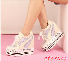 New Women Breathable Hollow Casual Shoes High Wedge Heel Genuine Leather Size
