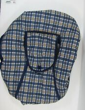 Baby Connection Navy Blue Plaid Car Seat Infant Carrier Cloth Quilted COVER