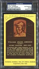 Judy Johnson - Signed Hall of Fame HOF Yellow Plaque PSA/DNA