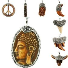 Genuine Bone Animal Carved Bling Crystal Pendant Beads Horn Amulet Fit Necklace