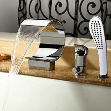 Modern Waterfall Mooni Shaped Roman Tub Mixer Filler Faucets 3 Holes Handshower