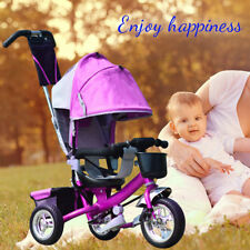 Childrens Kids Toddlers 4 In 1 Tricycle Bike Smart Trike with Parent Handle Push