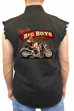 "MEN'S BLACK SLEEVELESS DENIM BIKER SHIRT ""TOYS FOR BIG BOYS ""  S TO 5XL"