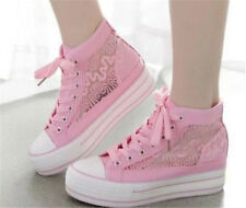 New Women High Top Lace SPort Cute Flats Lace Up Canvas Sneakers Casual Shoes