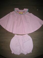 EUC Samara Pink Gingham Check Dress + Bloomers Outfit Set. sz 24 months
