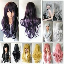 New Women Long Curly Wavy Wigs Anime Cosplay Party Wig Full Wig Xmas Fancy Dress