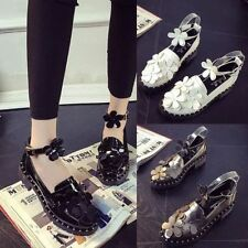 Lolita Womens COSPLAY Flats Mary Janes Flower Ankle Strap Buckle Pump Shoes Size