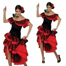 Adults Spanish Dancer Flamenco Dancing Ladies Fancy Dress Costume Sizes 10-24